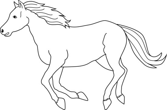 550x364 Galloping Horse Coloring Page