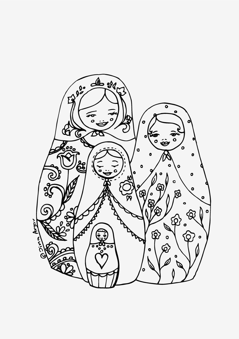 Russian Nesting Dolls Coloring Pages