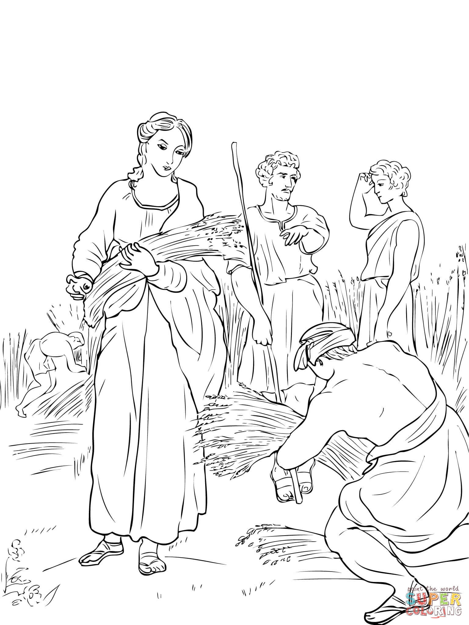 1536x2046 Ruth And Boaz Coloring Pages Ruth Working In The Fields And Boaz