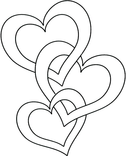 500x620 Beautiful Heart Coloring Pages Fee Shape Four Hearts Page Mothers