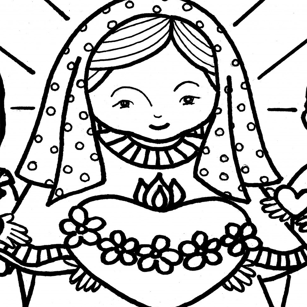 979x979 Immaculate Heart Coloring Pages Catholic Christian Pages To Color
