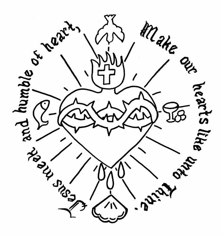 735x779 Sacred Heart Coloring Page Ccd Coloring Sheets