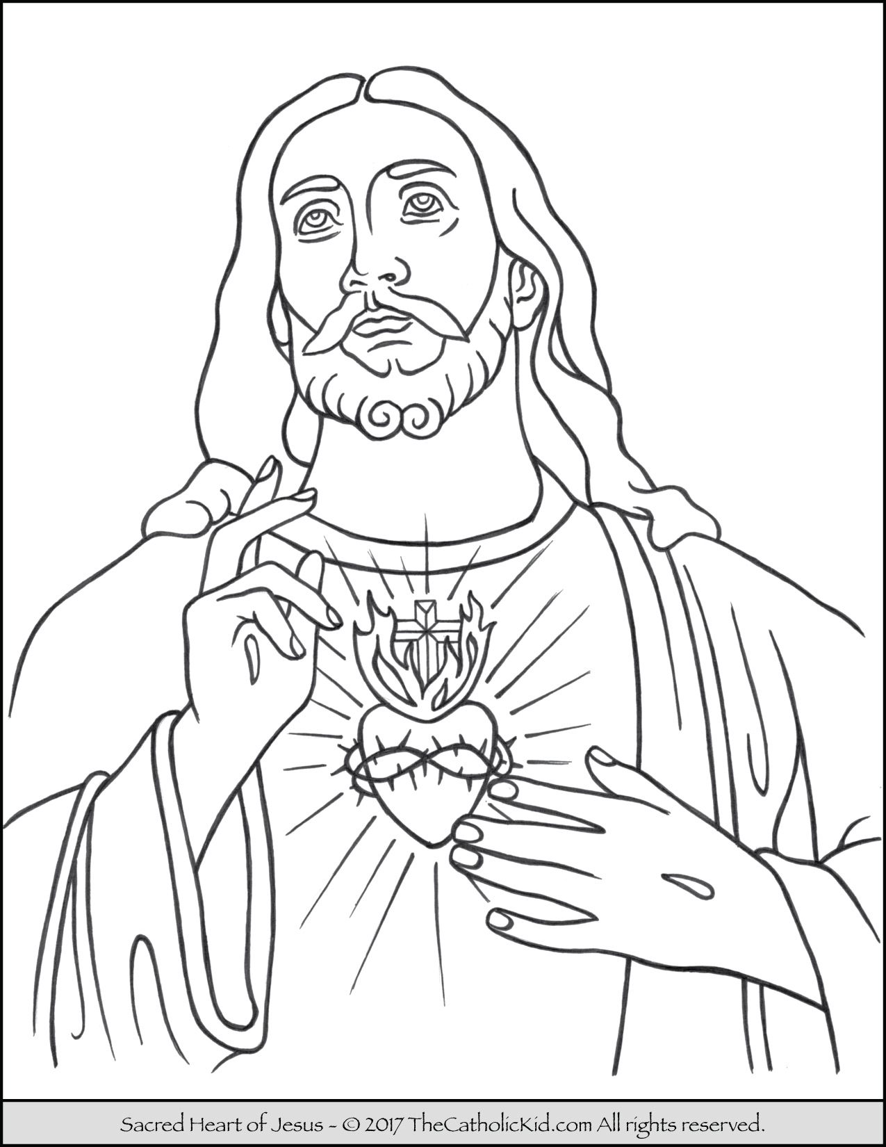 1275x1650 Sacred Heart Of Jesus Coloring Page