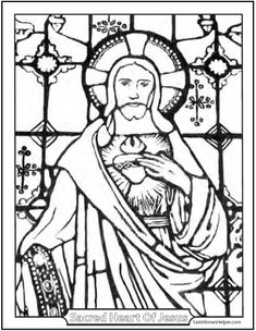 235x304 Sacred Heart Of Jesus And Immaculate Heart Of Mary Coloring Page