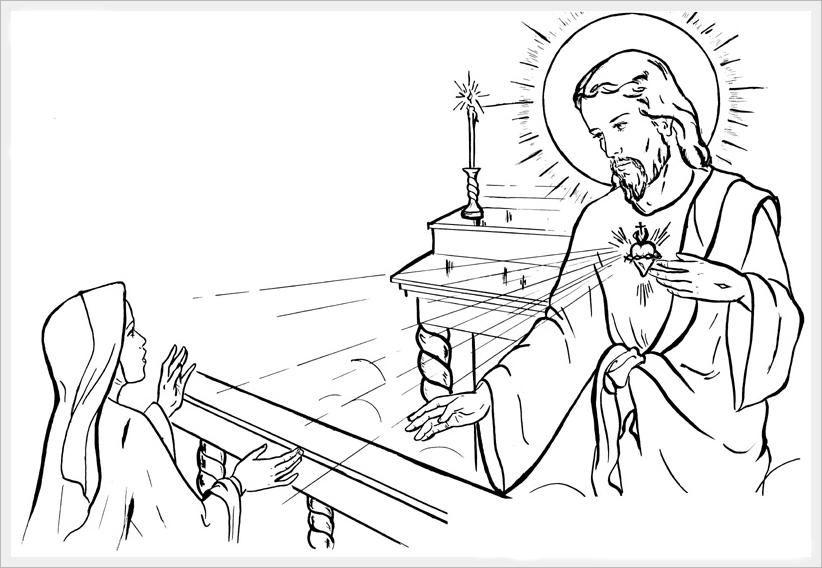 822x568 Saint Margaret Mary Alacoque Sacred Heart Catholic Coloring Page