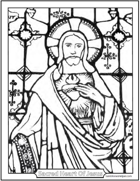 590x762 Stained Glass Coloring Page Of Jesus Church Window