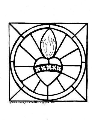 307x400 Two Coloring Pages Sacred Heart Of Jesus And The Immaculate Heart