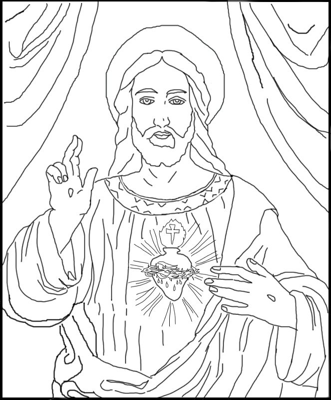 663x800 Free Coloring Page The Sacred Heart Of Jesus