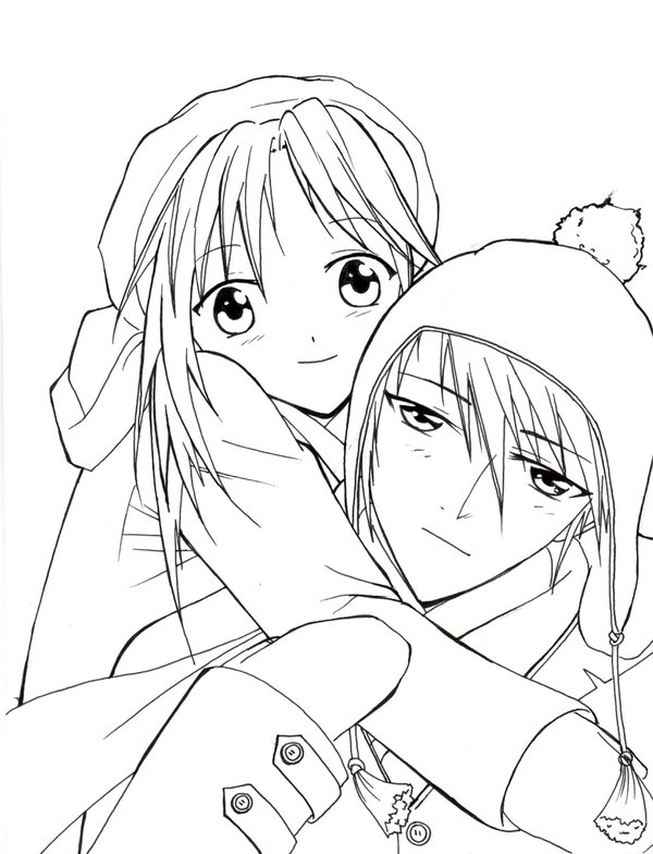 600x784 Anime Couple Coloring Pages To Print Color Bros