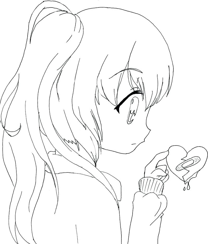 800x941 Anime Girl Coloring Pages Lonely Anime Girl Sad On The Tree