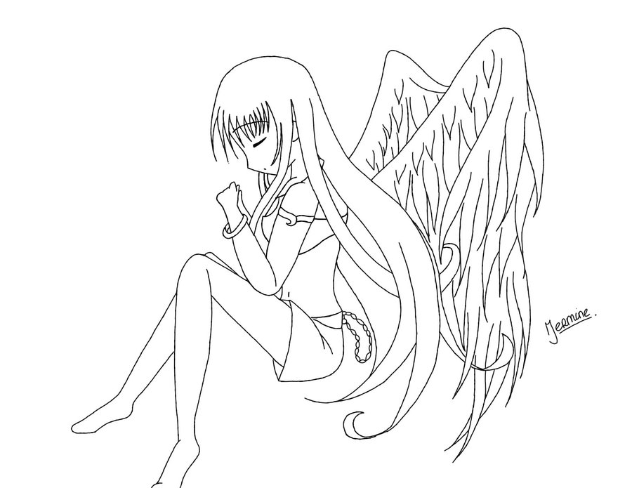 900x695 Anime Angel Coloring Pages