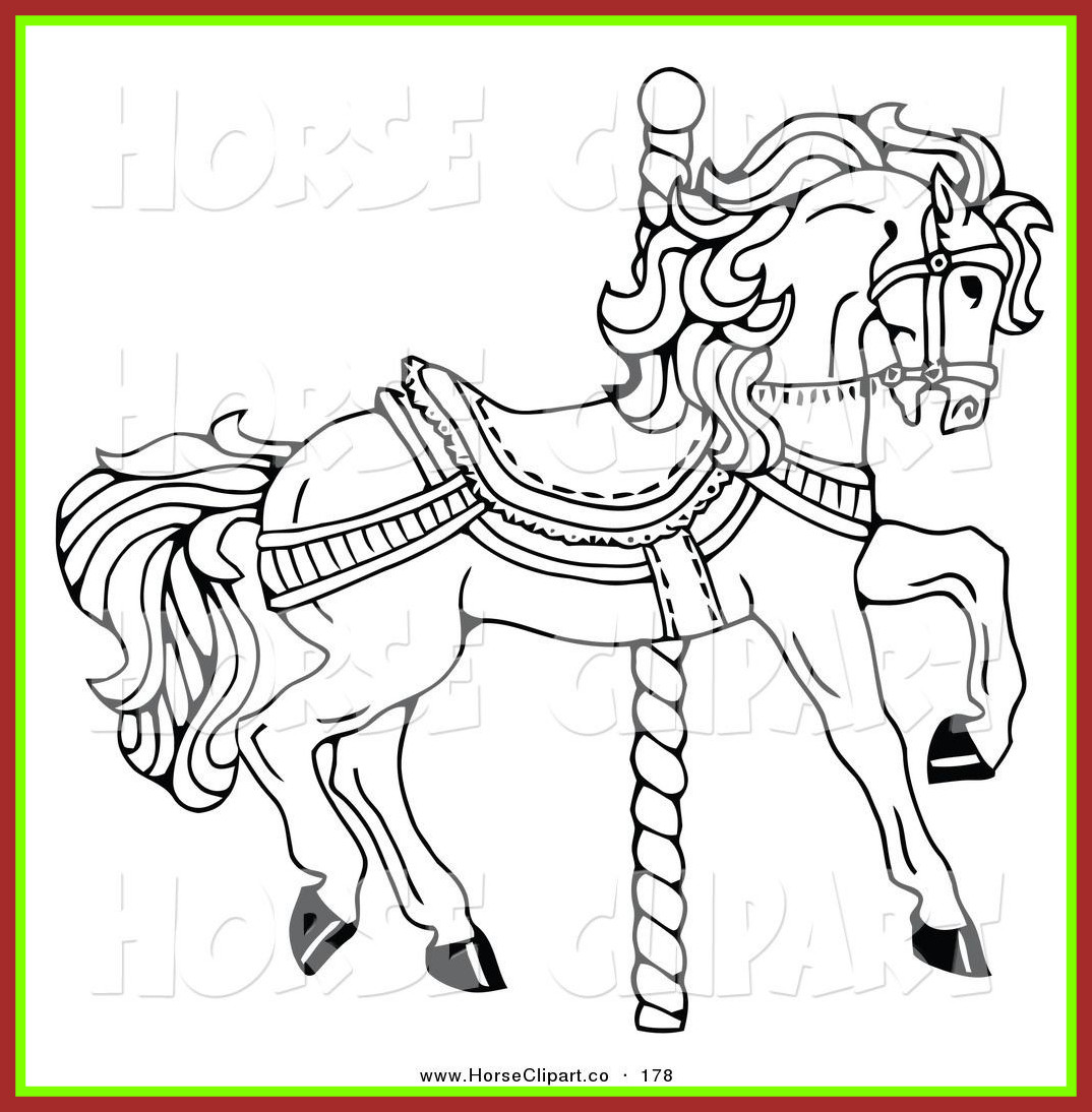 1074x1094 Horse With Saddle Coloring Page