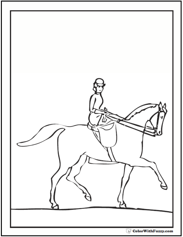 590x762 Lady Riding A Horse Coloring Page