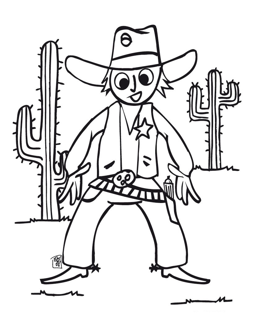 820x1060 Cowboy Coloring Page Hello Kitty Country Impressive Pages Western