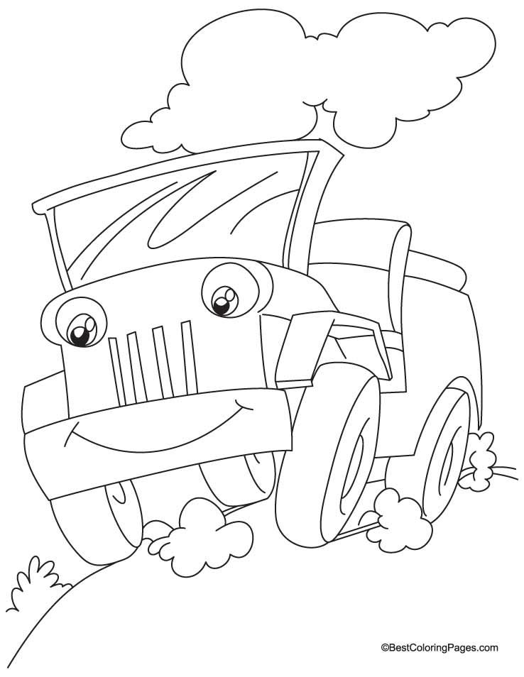 Safari Jeep Coloring Page