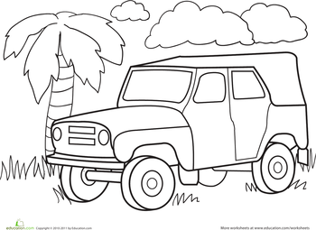 350x255 Color A Car Jungle Jeep Worksheets, Jeeps And Children Painting