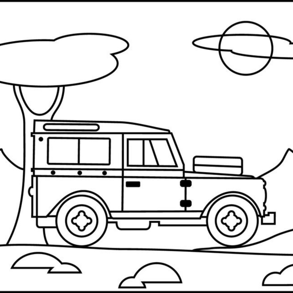 1024x1024 Safari Jeep Coloring Pages Pertaining To Safari Jeep Coloring Page