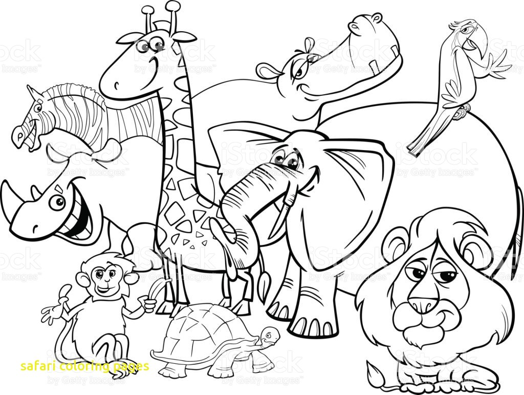 1024x771 Safari Coloring Pages With Cartoon Safari Animals Coloring Page