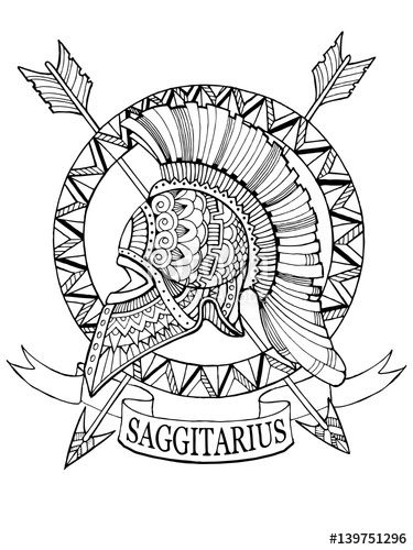 375x500 Sagittarius Zodiac Sign Coloring Page For Adults Fotolia