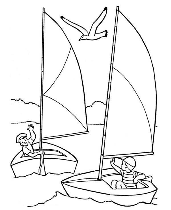 600x734 Sailing Boat Coloring Pages For Kids On Drawn Sailing Ship