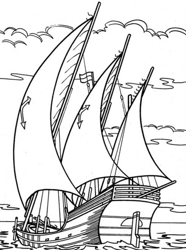 600x804 Sailing Boat Drive Through Ocean Coloring Pages Batch Coloring