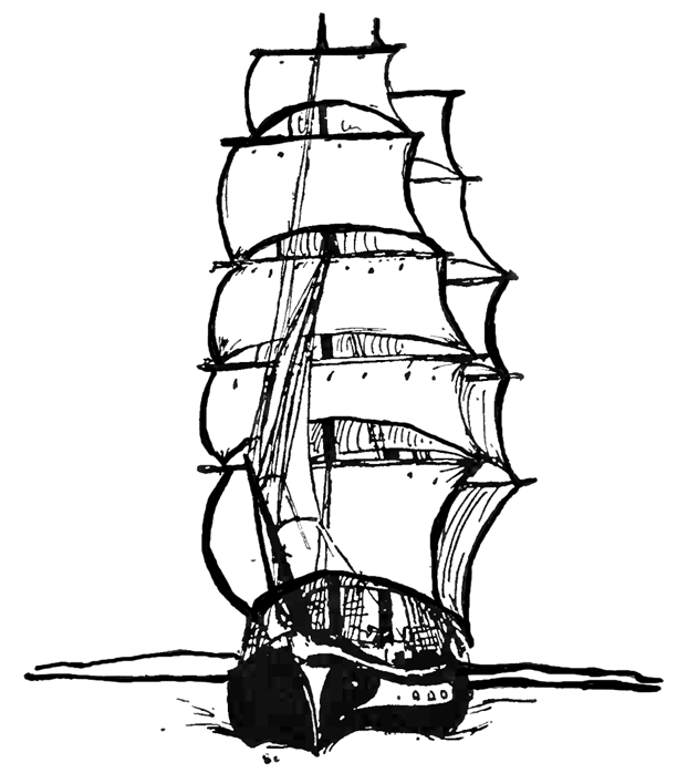 612x698 Sailing Ship Vessel In Open Ocean Coloring Page Printable