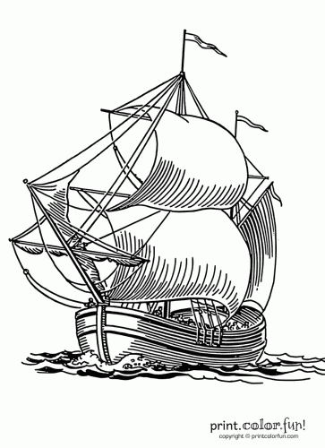 363x500 Sailing Ship Coloring Page