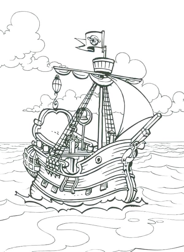 600x821 Captain Hook Pirate Ship Coloring Pages Pirate Ship Coloring Page