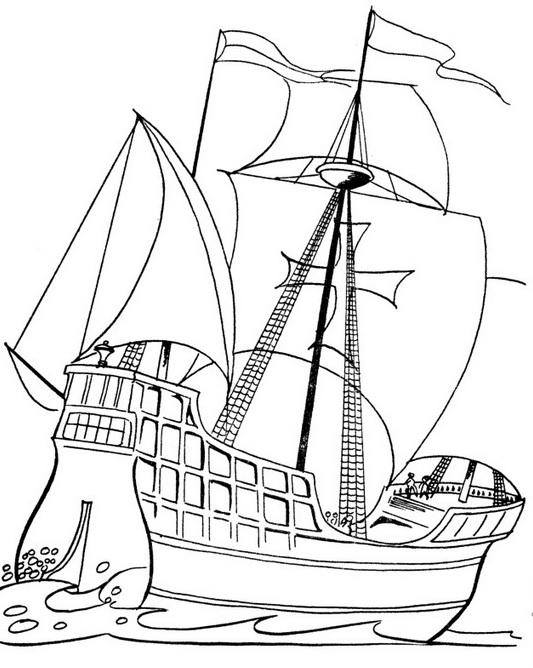 533x668 Columbus Day Ships Coloring Pages