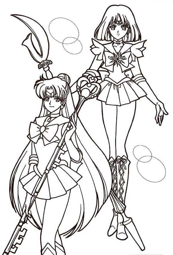 600x883 Sailor Mercury And Sailor Mars In Sailor Moon Coloring Page