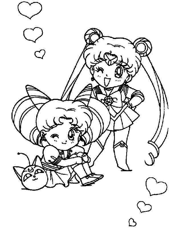 600x815 Sailor Moon And Sailor Chibi Moon Coloring Page Color Luna Sailor
