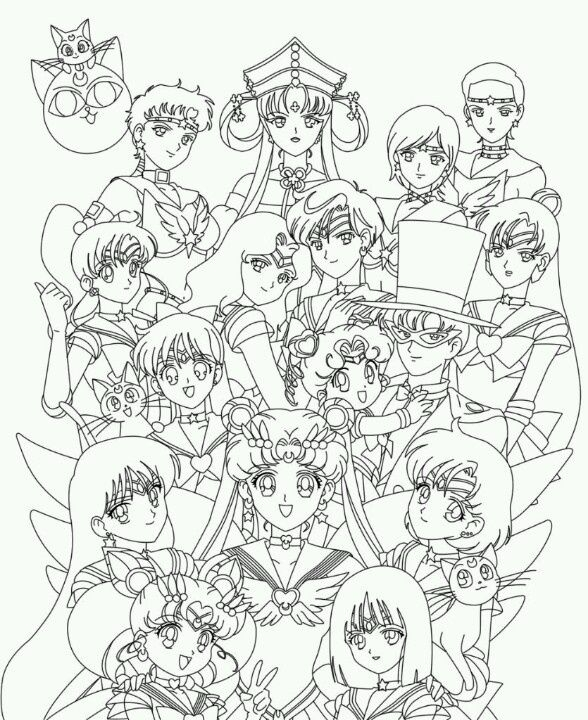 588x720 Sailor Moon Group Coloring Pages Coloriage Sailor Moon Coloring