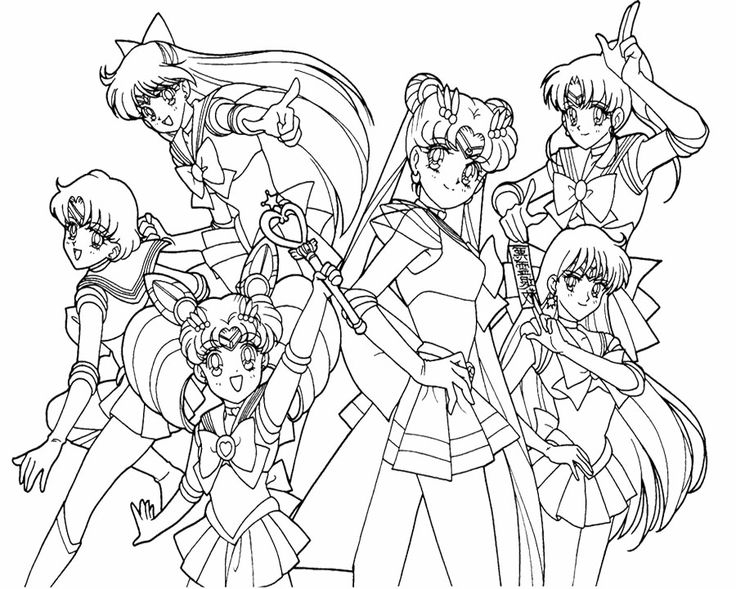 736x589 Sailor Moon Group Coloring Pages Impressive Sailor Moon Coloring