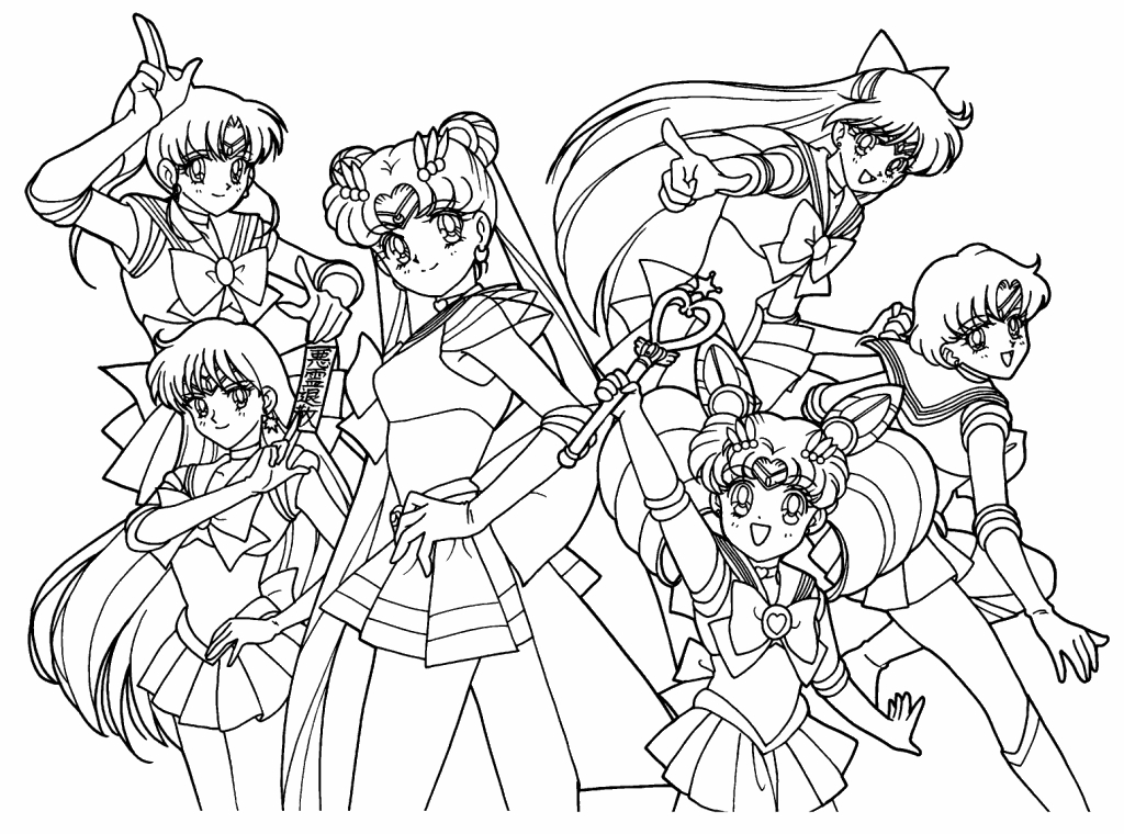1024x760 Sailor Moon Group Coloring Pages Sailor Moon Coloring Page Fancy