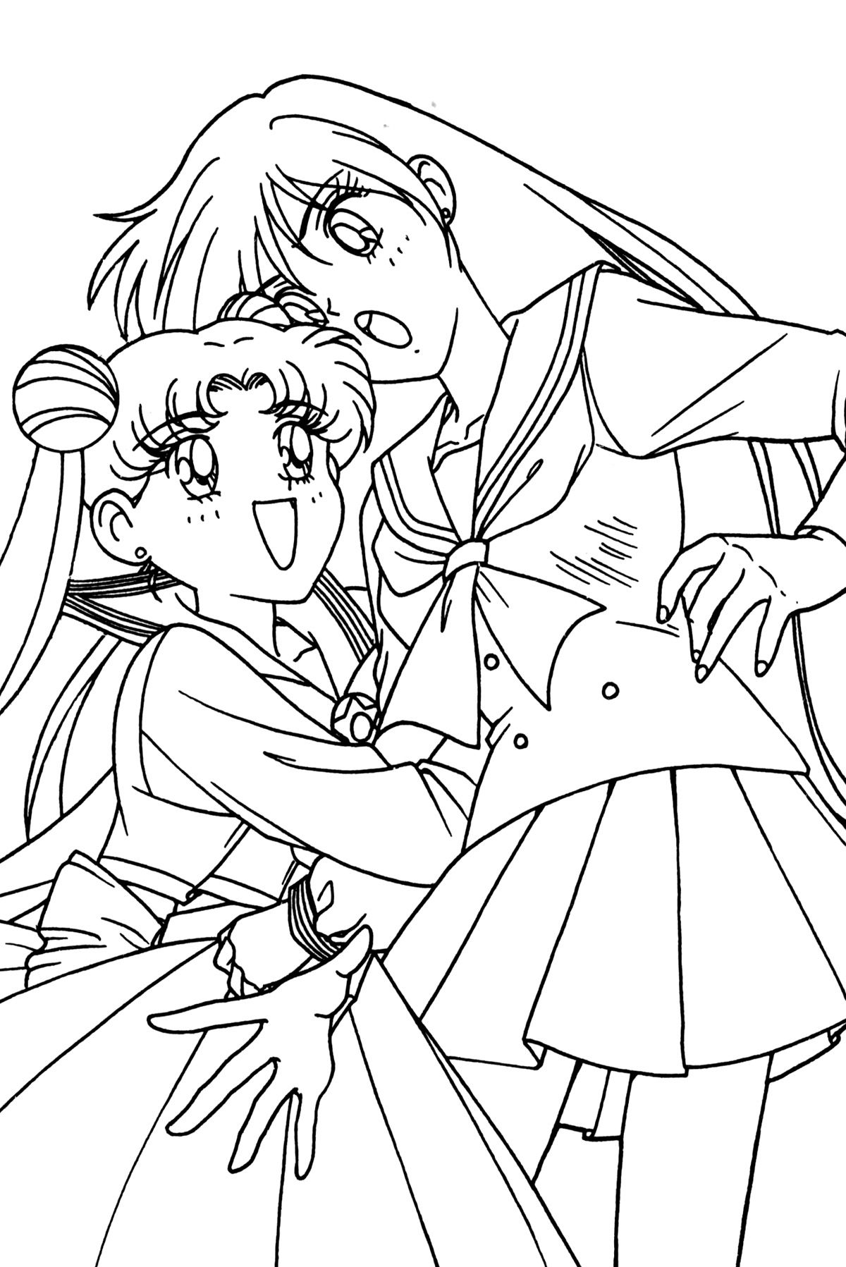 1200x1797 Sailor Moon Series Coloring Pages Usagi And Rei Group Everyday