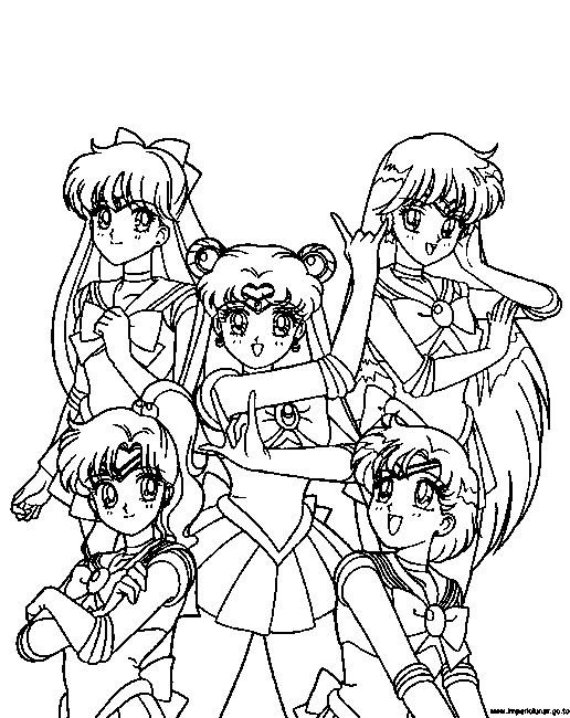 sailormoon online coloring pages | Sailor Moon Group Coloring Pages at GetDrawings.com | Free ...