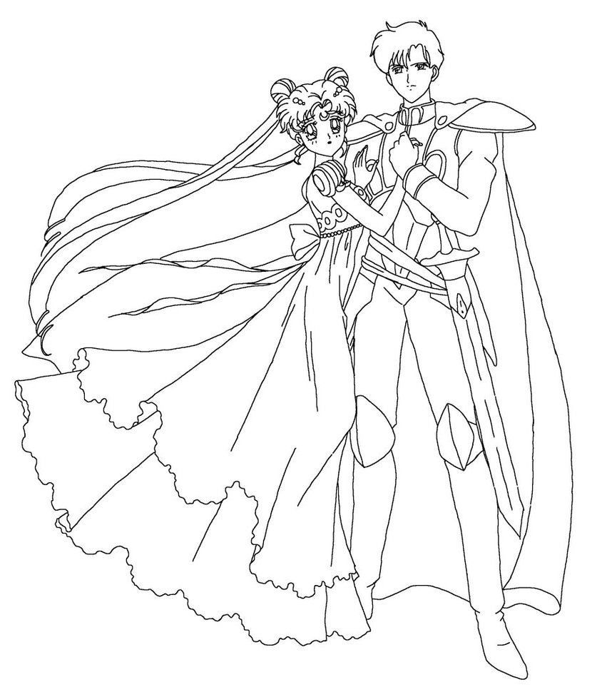 830x963 Energy Sailor Moon Group Coloring Pages Serenity And Endymion Page