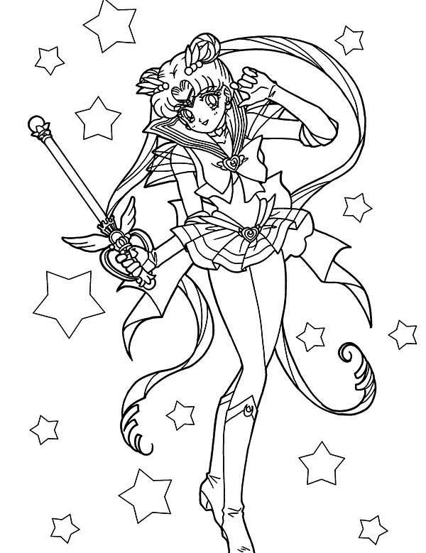 600x779 Beautiful Sailor Moon Usagi Tsukino Coloring Page Color Luna