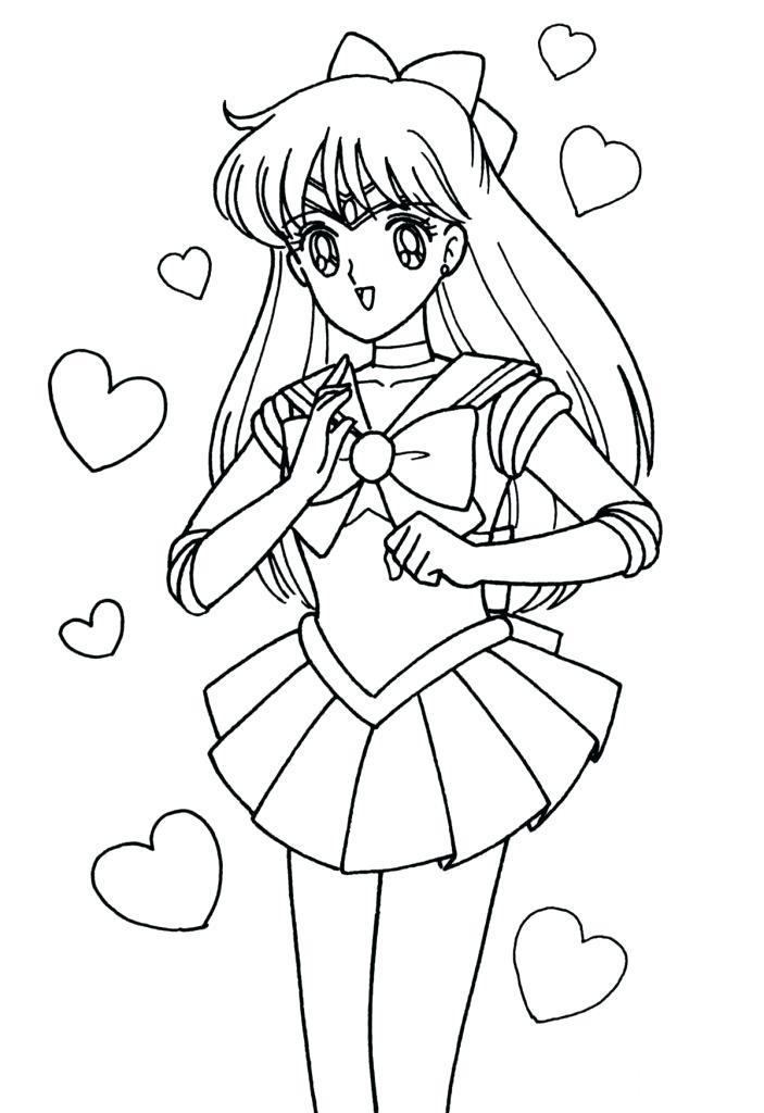 703x1024 Sailor Moon Coloring Pages Venus Cartoon Free Download Sailor