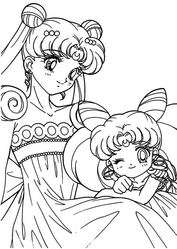 600x843 The Loving Sailor Moon And Sailor Chibi Moon Coloring Page Color