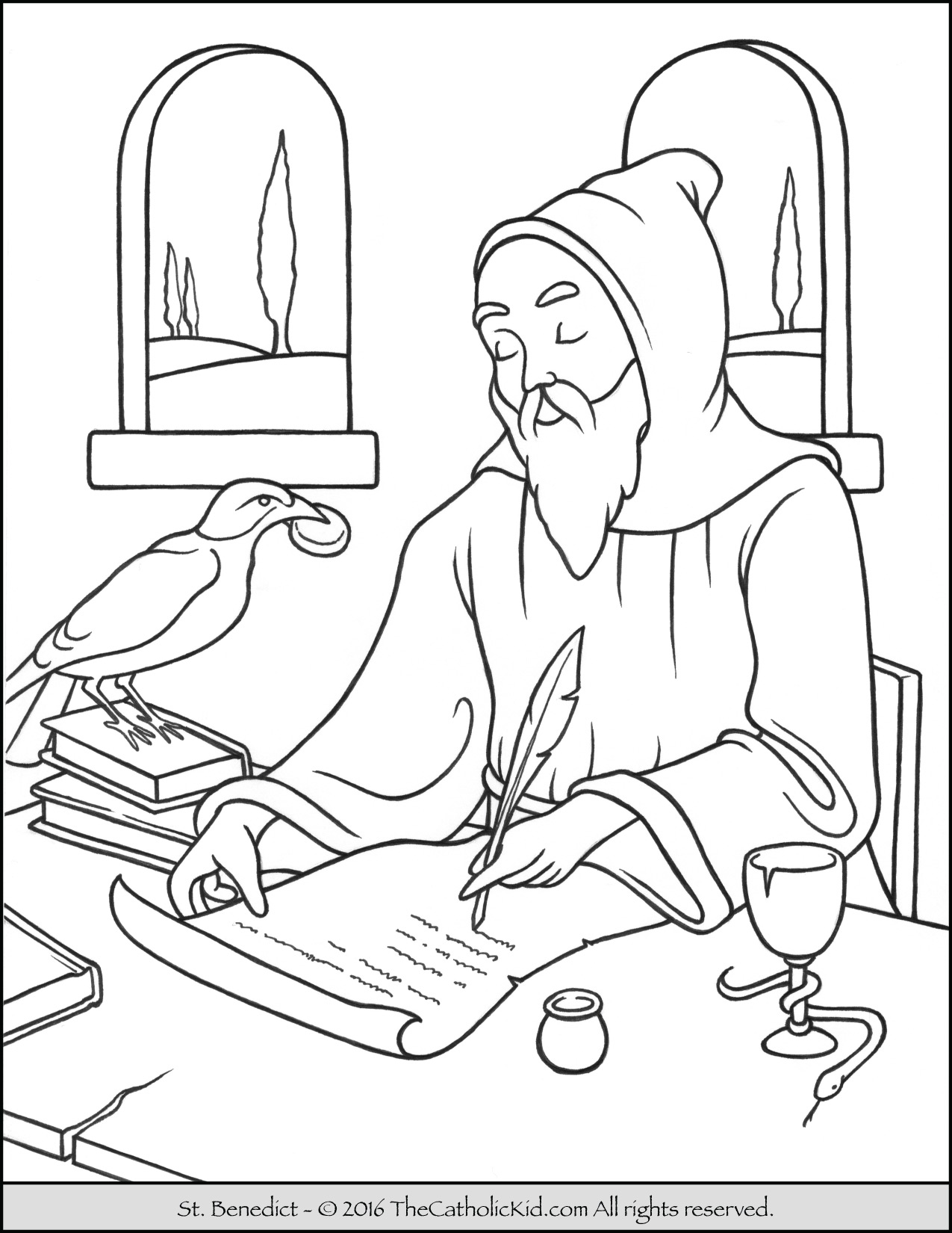 1275x1650 Saint Benedict Coloring Page Catholic Pages