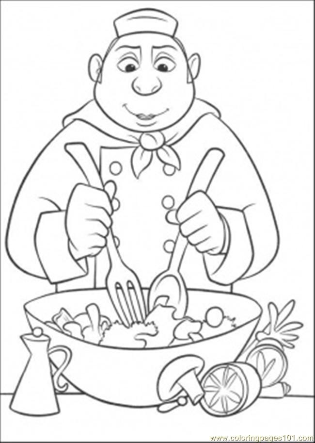 650x913 Auguste Gusteau Is Making Tasty Salad Coloring Page