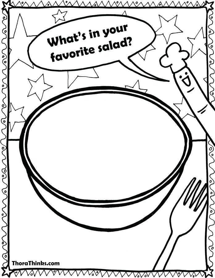 697x900 Cut And Collage Salad Coloring Page Salad Coloring Free Coloring
