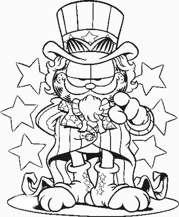 600x726 Garfield The Uncle Sam Coloring Page