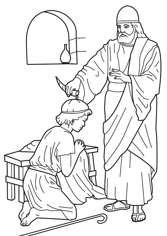 566x800 King David Coloring Page Samuel Anointing David King Bible