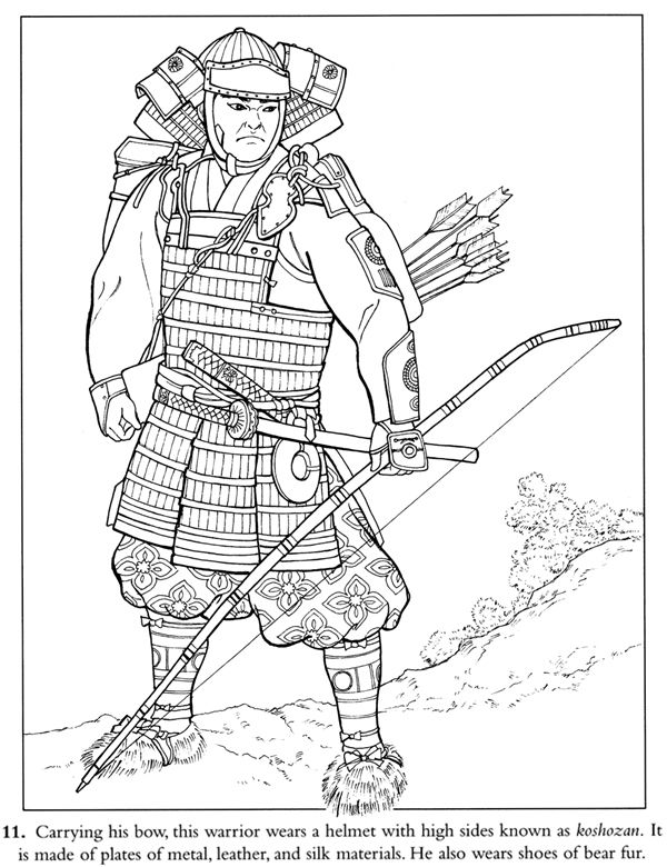 600x780 Coloring Page Japanese Samurai Inkspired Musings Japan Poems
