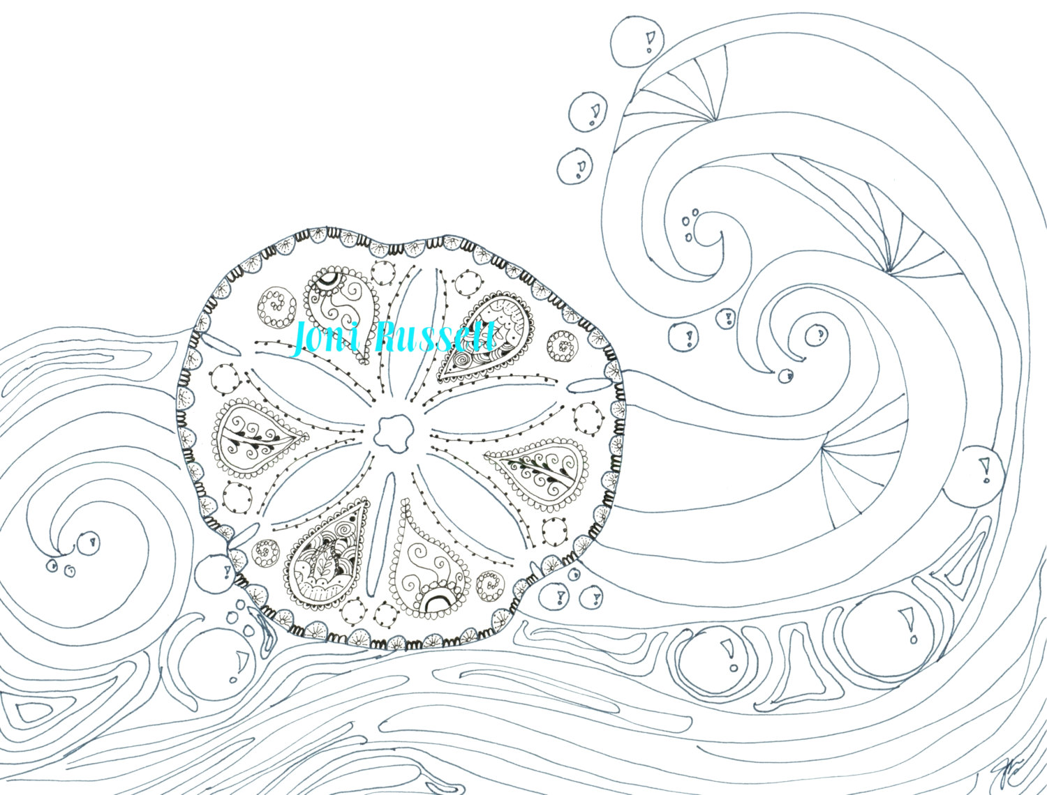 1500x1140 Sand Dollar And Waves Zendoodle Coloring Page