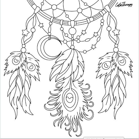 569x569 Dreamcatcher To Color With Color Therapy