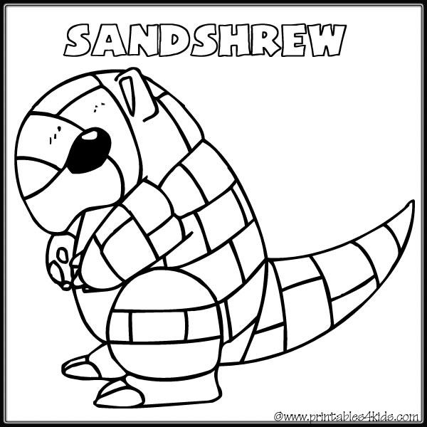 600x600 Pokemon Sandshrew Coloring Page Printables For Kids Free Word