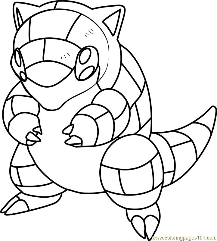 721x800 Sandshrew Pokemon Coloring Page